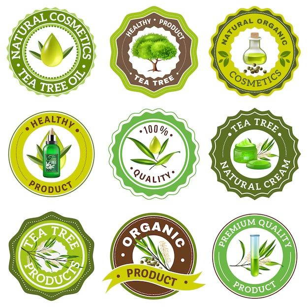 Conjunto de emblema de árbol de té vector gratuito