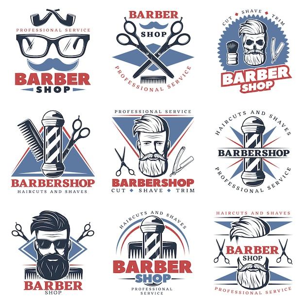 Conjunto de emblema de barbería vector gratuito