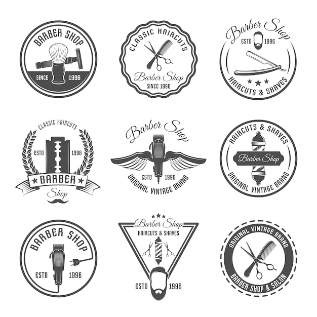 Conjunto de emblema o etiqueta de barbero vector gratuito