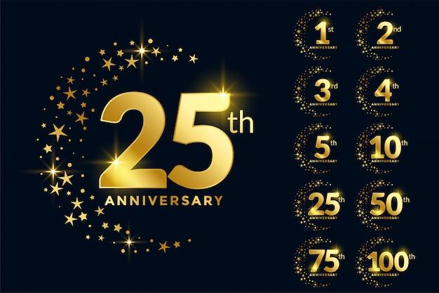 Conjunto de emblema premium de aniversario de oro vector gratuito