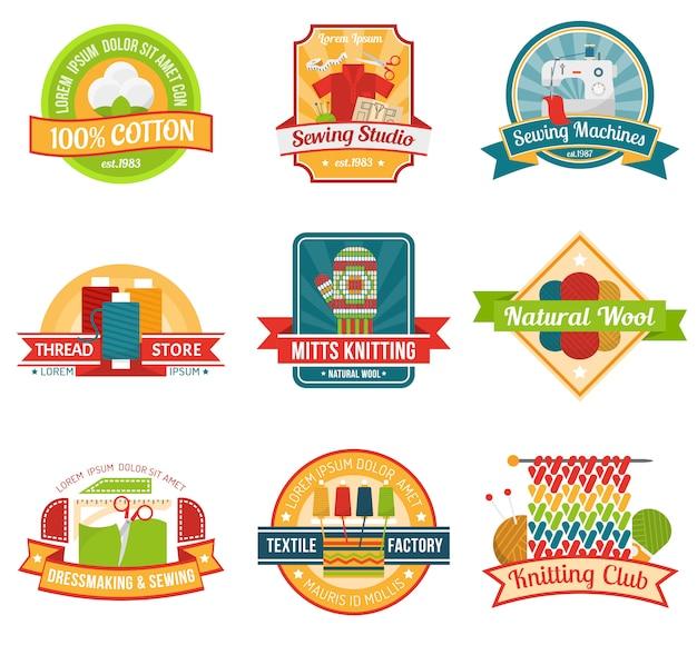 Conjunto de emblema textil vector gratuito