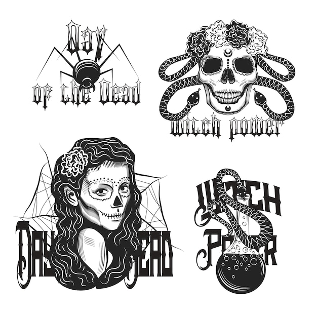 Conjunto de emblema vintage de bruja aislado en blanco vector gratuito