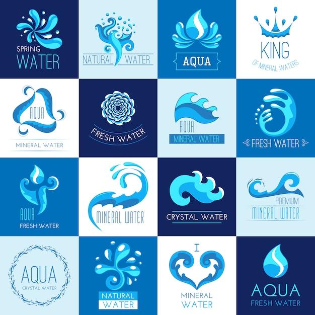 Conjunto de emblemas de agua vector gratuito