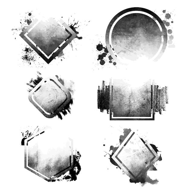 Conjunto de emblemas angustiados negro grunge vector gratuito