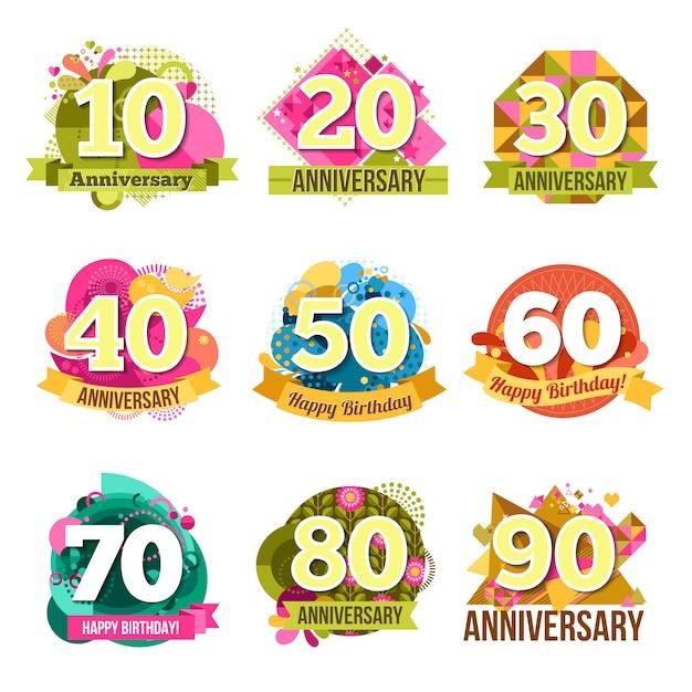 Conjunto de emblemas de aniversario plana vector gratuito