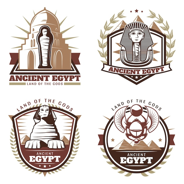 Conjunto de emblemas del antiguo egipto de colores vintage vector gratuito