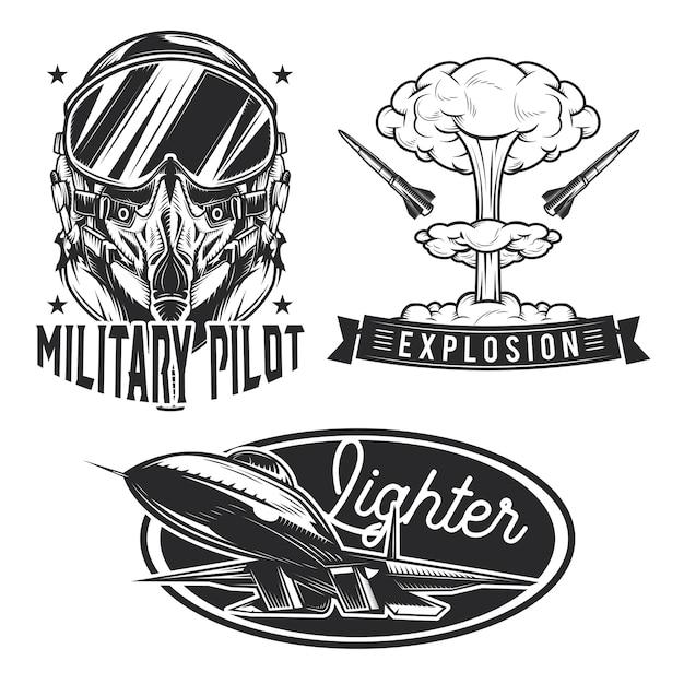 Conjunto de emblemas de aviación, etiquetas, insignias, logotipos. vector gratuito