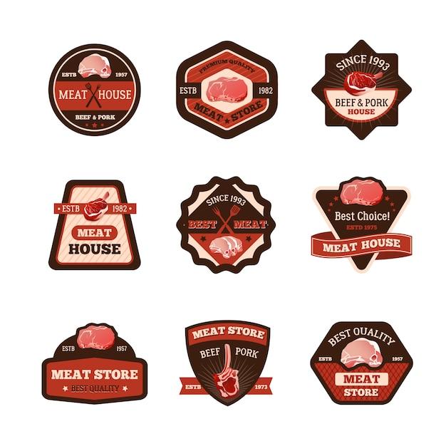 Conjunto de emblemas de carne vector gratuito