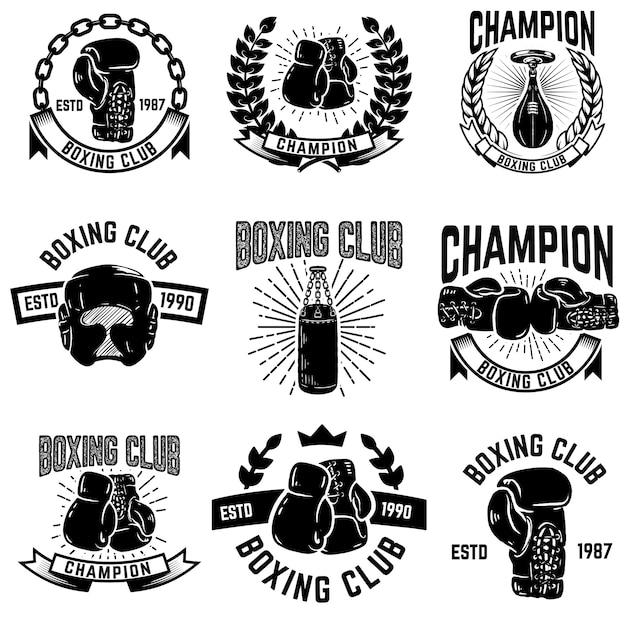 Conjunto de emblemas del club de boxeo. guantes de boxeo. elementos para logotipo, etiqueta, emblema, signo. ilustración Vector Premium