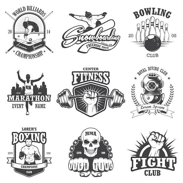 Conjunto de emblemas, etiquetas, insignias y logotipos deportivos vintage. estilo monocromático vector gratuito