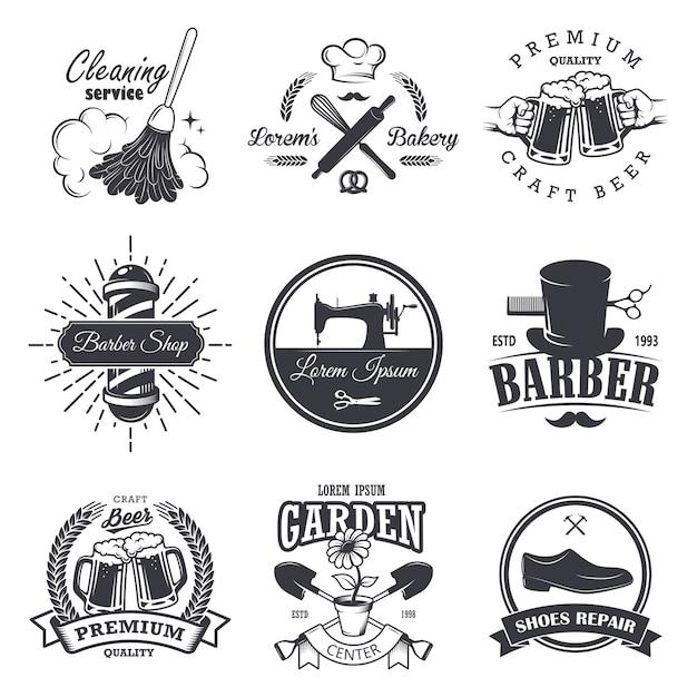 Conjunto de emblemas, etiquetas, insignias y logotipos de talleres antiguos, estilo monocromo vector gratuito