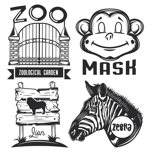 Conjunto de emblemas, etiquetas, insignias, logotipos del zoológico. vector gratuito