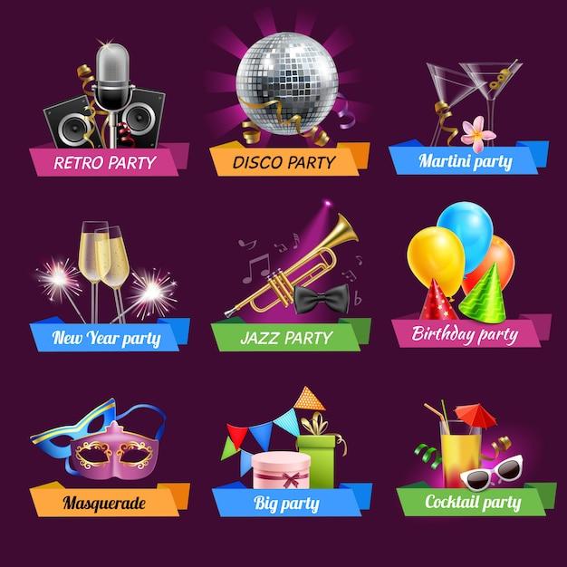 Conjunto de emblemas de fiesta vector gratuito