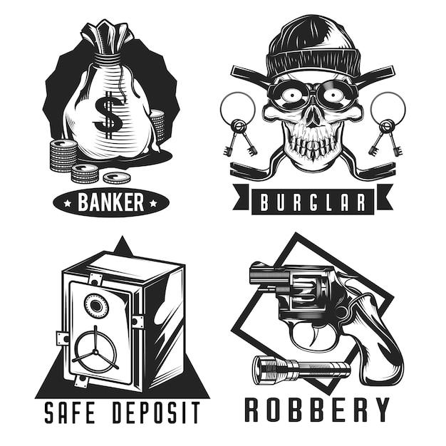 Conjunto de emblemas de ladrón vector gratuito