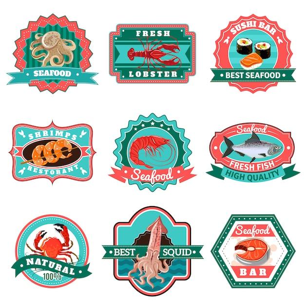 Conjunto de emblemas de mariscos vector gratuito