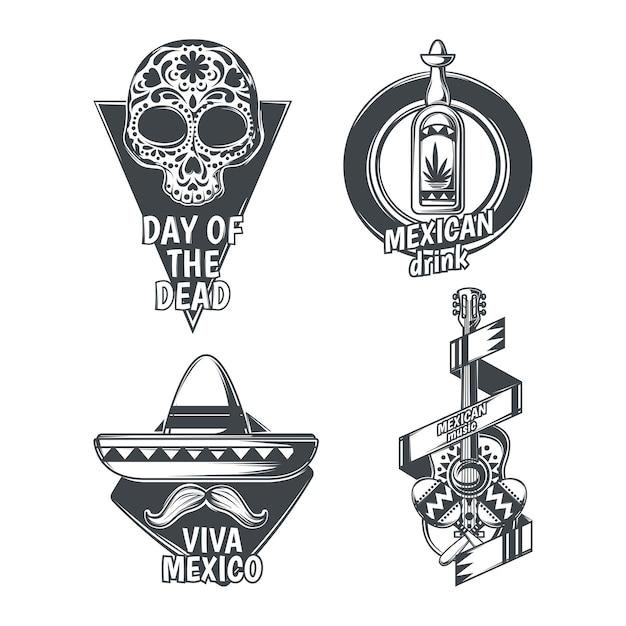 Conjunto de emblemas mexicanos vector gratuito