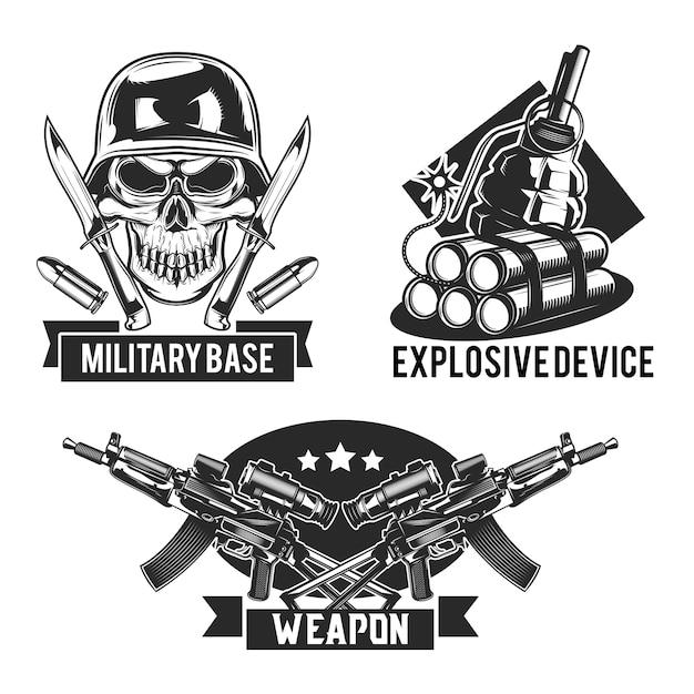 Conjunto de emblemas militares vector gratuito