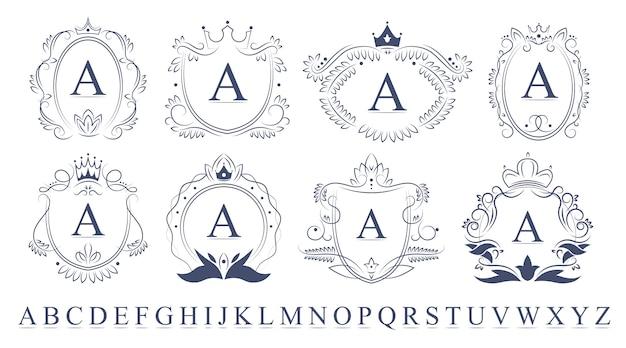 Conjunto de emblemas de monograma adornado retro vector gratuito