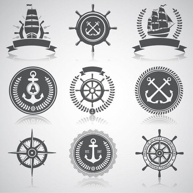 Conjunto de emblemas náuticos, etiquetas y elementos designados, vector gratuito