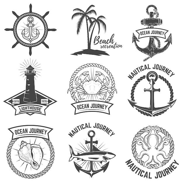 Conjunto de emblemas náuticos sobre fondo blanco. elementos para logotipo, etiqueta, signo. ilustración. Vector Premium