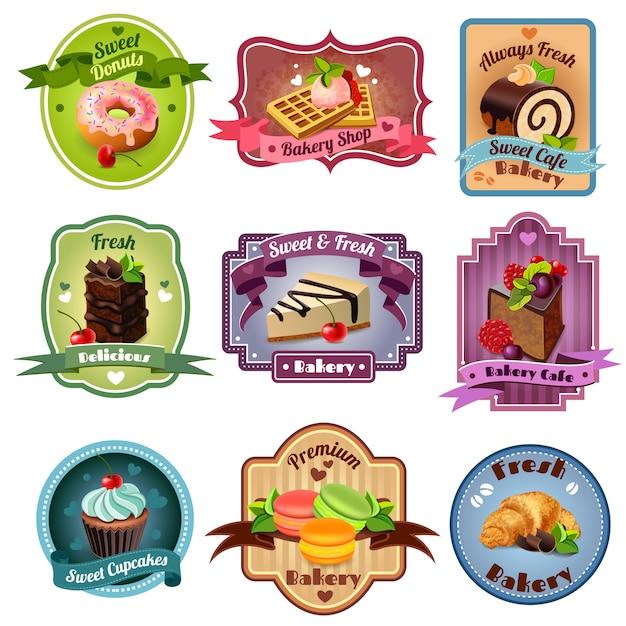 Conjunto de emblemas de panadería vector gratuito