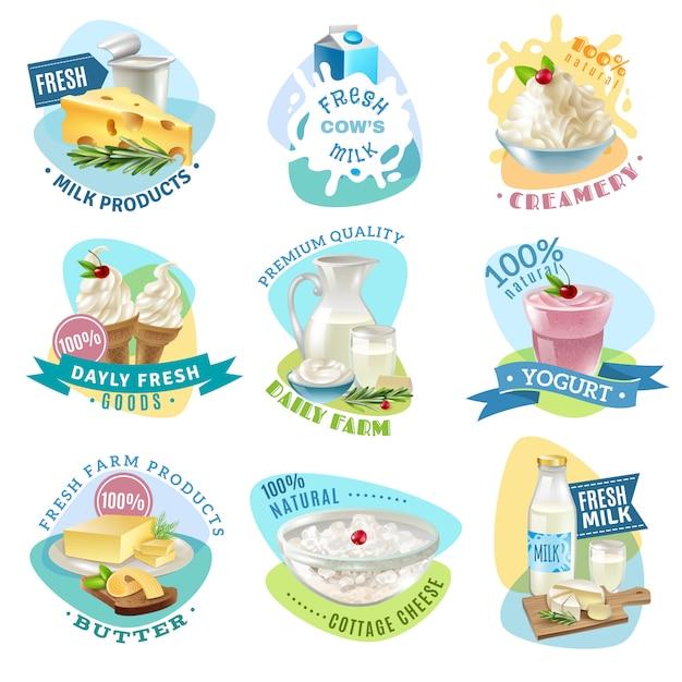 Conjunto de emblemas de productos lácteos vector gratuito