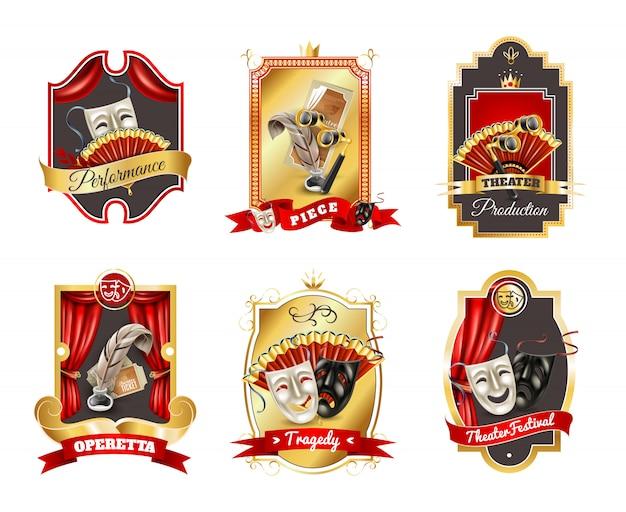 Conjunto de emblemas de teatro vector gratuito