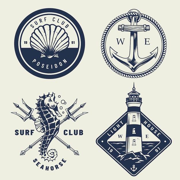 Conjunto de emblemas vintage mar monocromo vector gratuito