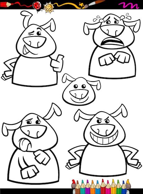Conjunto de emoción de perro para colorear de dibujos animados ...