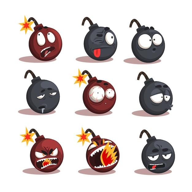 Conjunto de emociones de bomba de dibujos animados Vector Premium