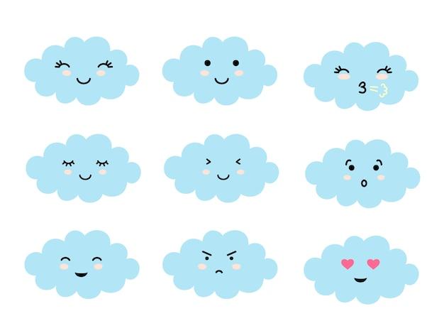 Conjunto de emoji en forma de nube con diferentes estados de ánimo. Vector Premium