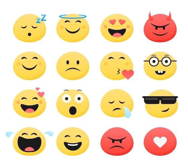 Conjunto de emoticones lindo sonriente Vector Premium