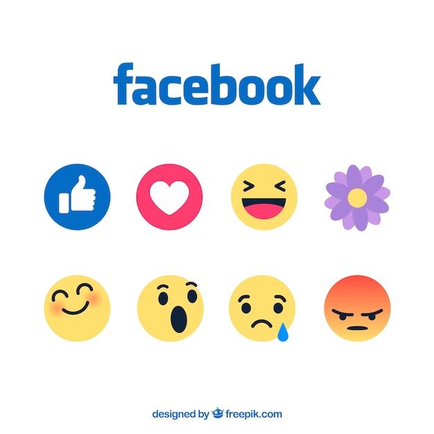 Conjunto de emoticonos de facebook en estilo plano vector gratuito