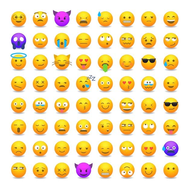 Conjunto de emoticonos sonrientes lindos Vector Premium