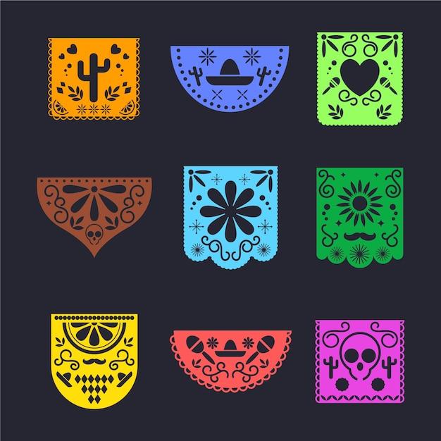 Conjunto de empavesado de diseño mexicano vector gratuito
