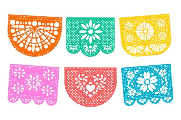 Conjunto de empavesado de estilo mexicano vector gratuito