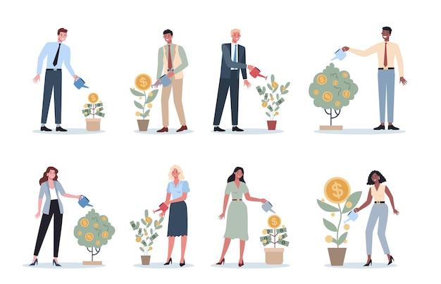 Conjunto de empresarios regando un árbol del dinero. feliz personaje exitoso con un árbol de monedas de oro. bienestar financiero, crecimiento e inversión. Vector Premium