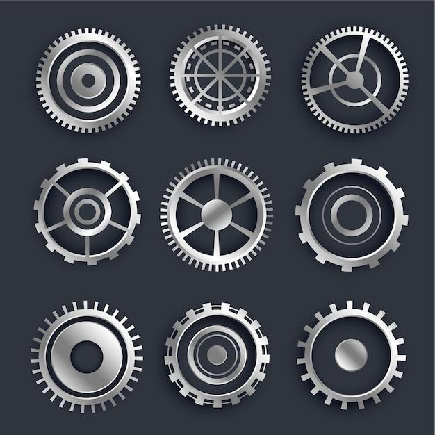 Conjunto de engranajes y engranajes metálicos 3d de nueve diseño vector gratuito