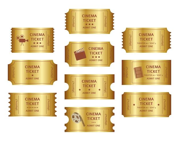 Conjunto de entradas de cine retro dorado. Vector Premium
