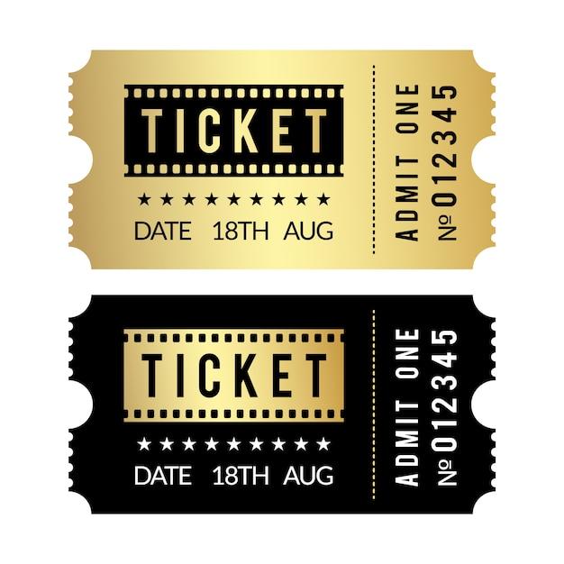 Conjunto de entradas doradas. plantilla de entradas de cine, teatro, fiesta, museo, evento, concierto de oro y negro Vector Premium