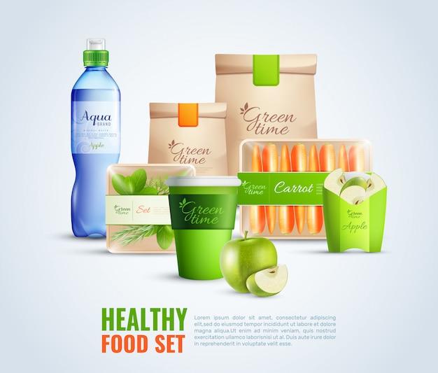 Conjunto de envases de alimentos saludables vector gratuito