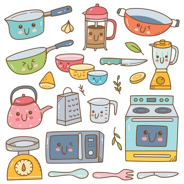 Conjunto De Equipo De Cocina Kawaii Conjunto Vector Premium