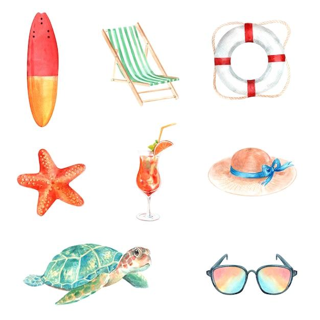 Conjunto de equipos de acuarela, dibujado a mano ilustración de elementos de verano aislado vector gratuito