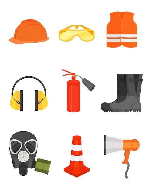 Conjunto de equipos de seguridad. ropa de protección y botas, altavoz, cono de tráfico, máscara de gas y extintor de incendios. Vector Premium