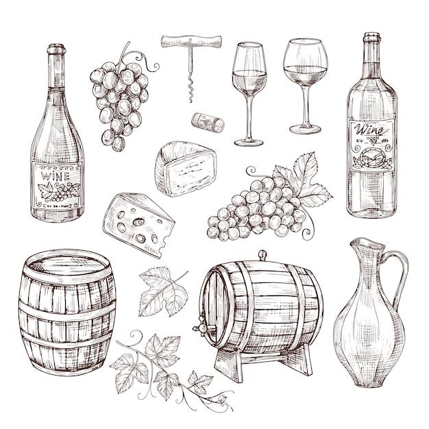 Conjunto de equipos de vino. Vector Premium