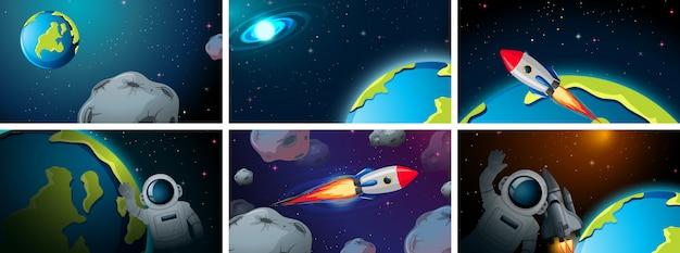 Conjunto de escena espacial vector gratuito