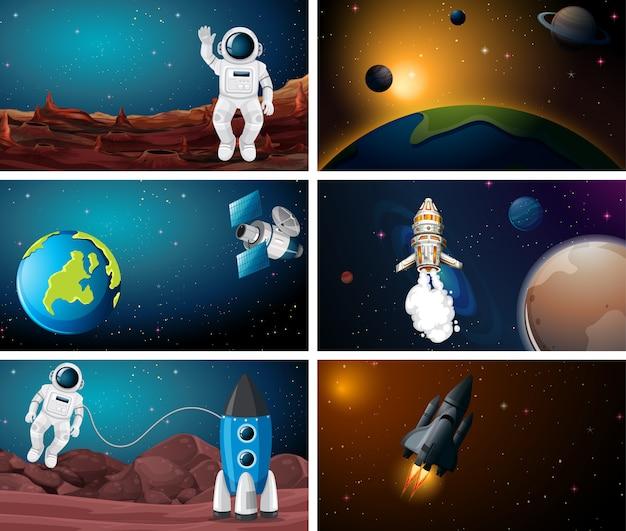 Conjunto de escena de ilustración espacial vector gratuito