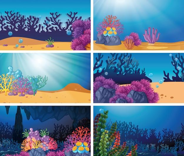 Conjunto de escena submarina vector gratuito