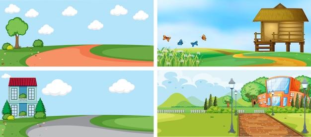 Conjunto de escenas al aire libre o de fondo vector gratuito