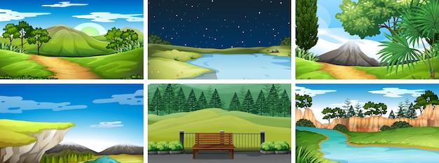 Conjunto de escenas diurnas y nocturnas en la naturaleza. vector gratuito
